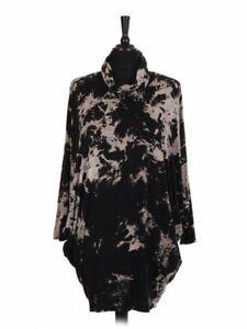 Italian Ladies Tie Dye Top Snood Tunic Batwing Sleeves Women's Lagenlook Jersey