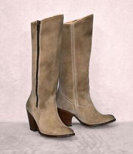 B4 FRYE Angela Suede Stacked Heel Side Zip Distressed Knee Hi Boot Shoes Sz 8 M