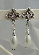 vintage Style Filigree Cross Stud Pearl Drop Earrings tibetan silver glass white