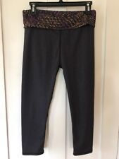 Fabletics Fold Top Yoga Pants, Cropped, Gray, Size Small, ECU