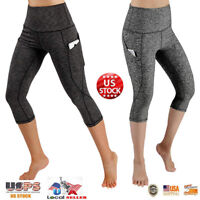 NEW Womens Capri Leggings Pocket Tummy Control Workout Exercise Yoga Pants M815