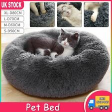 Pet Dog Cat Calming Beds Comfy Shag Warm Fluffy Bed Nest Fur Donut Pad ZO