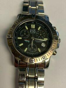 Working Men's Swiss Silver ESQ by Movado Chronograph Quartz Watch CH