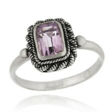 925 Silver Genuine Amethyst Ring Size 8