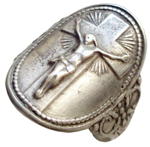 BEAUTIFUL & RARE ANTIQUE SILVER RING WITH CRUCIFIX DECORS