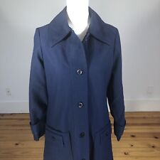 Vintage 70's Spread Collar Navy Blue Dress Coat S/M Polyester Button DownStyle