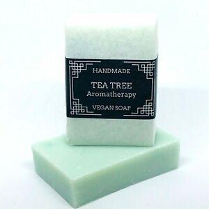 TEA TREE HANDMADE SOAP BAR LONGLASTING MEN PLASTIC FREE HEMP OIL MOISTURISING