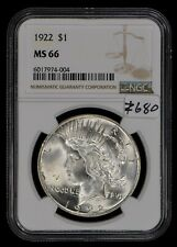 1922 $1 Silver Peace Dollar - Frosty Luster - Strong Strike - NGC MS66 - #Z680