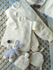 "Baby Knitting Pattern Romper Suit, Dress, Hat & Bonnet 12-22"" 4ply prem size 525"