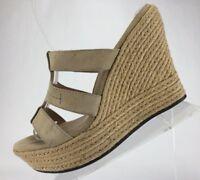 UGG Wedge Sandals - Beige Leather Espadrilles Mule Heels Peep Toe Women's Size 9
