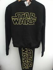 Mens Offical Disney Star Wars Black Leisurewear Tracksuit Pyjamas Xs-xxl 2xl