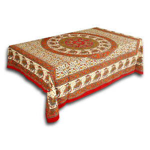 Cotton Elephant Mandala Tablecloth Rectangle Tapestry Wall Hang Throw Red 60x90