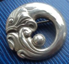 Georg Jensen Danish Silver Modernist Fish Brooch h/m 1973 London  -  no. 10