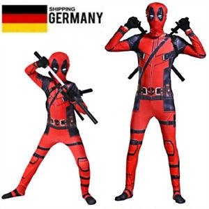 DE Kinder Erwachsene Superheld Deadpool Cosplay Kostüm Overall Halloween Outfits