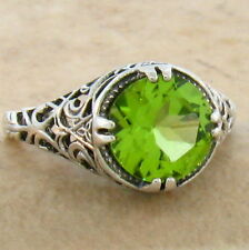 2 CT GENUINE PERIDOT .925 STERLING VINTAGE DESIGN SILVER RING SIZE 8,       #752