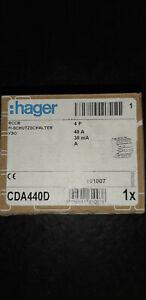 Hager FI-Schutzschalter CDA440D 40A 30mA 0,03A 4polig Typ A RCD Fehlerstrom