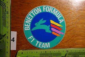 Alter Aufkleber Automobil Formel 1 BENETTON FORMULA F1 Team
