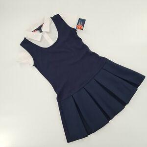 FRENCH TOAST Girls Jumper Dresses School Uniform Navy Blue White Sz 10