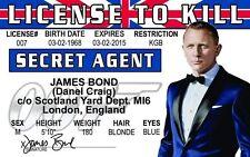 Secret Agent Daniel Craig Agent 007 James Bond Id card Drivers License to Kill