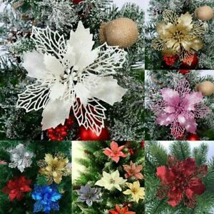 10X Christmas Large Poinsettia Glitter Flower Tree Hanging Party Xmas Decor New