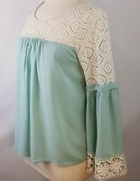 Entro Boutique Womens M Medium Mint Lace Cute Fall Top Shirt Tee Bell Sleeve
