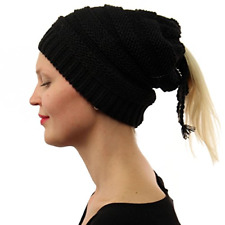 SK Hat shop Everyday 3 In 1 Open Top Messy Bun Ponytail Stretch Knit Beanie Hat