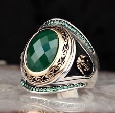 Emerald Stone Turkish Handmade 925 Sterling Silver Mens EAGLE Ring ALL SİZE USA