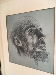STUNNING Original drawing: Head of Bald man 11 X 11 1/2 INCHES