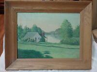 Framed Signed Vintage Impressionist Mid-Century Landscape Painting Lake House