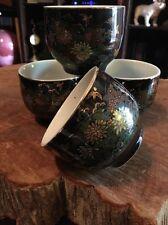 Oriental tea cups Set of (4) Signed on bottom Deep Blue Stunning Art Painting