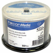 50 Falcon SUPPORTI DVD+R DL Smart Guard INKJET BIANCO STAMPABILE (8X) 8.5 GB 1 X 50PK