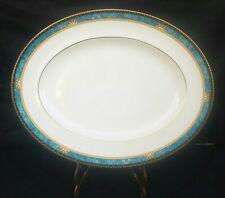 "Vintage Wedgewood Curzon England Bone China 14"" Serving Platter Turquoise Gold"