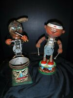 VTG Marx Nutty Mad Indian & Little Indian Drummer Tin Battery Op parts