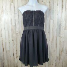 Elle Womens Dress 12 Black Strapless Lace Bodice Sheer Mini