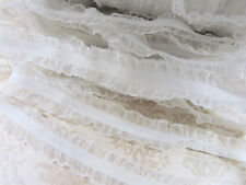 "5 yards White Elastic/Spandex Organza Ruffle 7/8"" Lace Trim/Sewing/Craft T5"