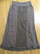 ce24bf8d18b458 Chicos Crochet Center Front Lace Maxi Skirt Size 1 Talpa Taupe Brown