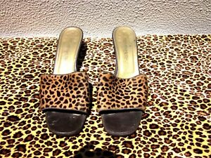 NICE YVES SAINT LAURENT WOMEN'S SANDALS,PRE OWNED,LEOPARD STYLE, SIZE 9 - 9 1/2