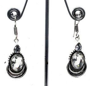 925 Sterling Silver White Topaz Gemstone Handmade Jewelry Earring Size-1.20''