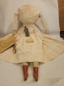 "Antique doll body 24"" cloth wood 4 Paper Papier Mache China Composition dress +"