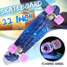 22'' Skateboard Chrome Bearing Cruiser Board Skate Flashing Wheel