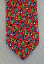Timo Cofina Novelty Fish Tie Necktie Colorful Made In Italy Red Silk