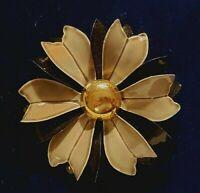 Vintage Black & Gray Enamel Flower Pin Goldtone Metal Brooch Lapel Pin
