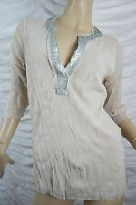 VERGE cream mesh silver sequin trim v-neck long sleeve cinder top size L EUC