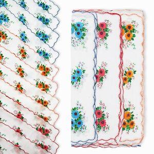 12Pcs Women Square Plaid Stripe Handkerchiefs Hanky Pocket Cotton Towel 28*28cm