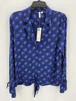 Treasure and Bond Womens Small Blue Floral Tie Waist Button Front Top NWT