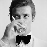 007 James Bond Roger Moore - Shaken, not Stirred Art Canvas Movie Poster Print