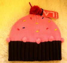 Strawberry Pink & Chocolate Brown Fairy Cup Cake knitted Beanie Pom Pom Hat Nwt