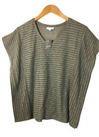 Pure J Jill Knit Top Batwing  Tan Striped Cotton Pullover Size XS Lagenlook