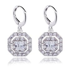 Perfect Drop/Dangle Earrings Real White Gold Filled Square Cubic Zircon Girl