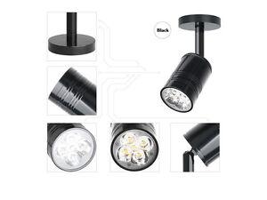 5W Led Spot Mural Lampe de Mur Intérieur Noir Orientable Blanc Pur